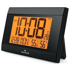 digital wall clock atomic with auto night light temperature humidity batteries ajanta uk outdoor battery