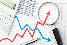 Line Graph And Magnifying Glass Analyzing Data Graph Chart