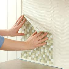 adhesive tile backsplash affordable install tile press glass tile into the kitchen wall mastic with self