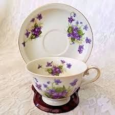 Teacup Display Stand Crown China Japan Tea Cup Saucer Set Purple Floral Gold Trim with 16