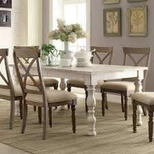 Aberdeen Wood Rectangular Dining Table and Chairs in Weathered Worn White by Riverside Furniture crate barrel kitchen tables