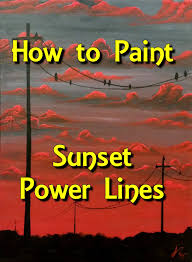 sunset power lines step by step acrylic painting on canvas for beginners