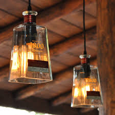 recycled 1800 tequila bottle pendant lamps