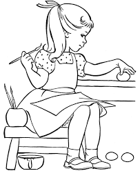 Small Picture Cute Little Girl Coloring Egg Easter Coloring Pages Easter