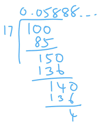 find the decimal form of 1/17 and 1/19 - Brainly.in