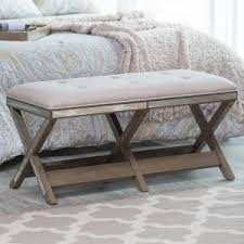 Bench for bedroom White Belham Living Cushioned Indoor Bench With Mirrored Frame Hayneedle Bedroom Benches Hayneedle