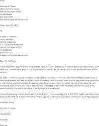 Warehouse Associate Cover Letter Warehouse Cover Letter For Resume
