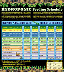 Veg Bloom Feed Chart Pa Hydroponics Feeding Charts