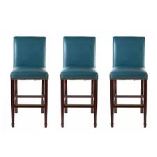 Set Of 3 Classical Leather Inc Blue Bar Stools With Nailhead Trim Blue Leather Bar Stools19
