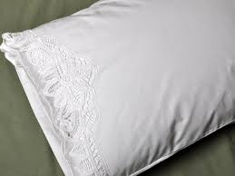 Pair of White Cotton Battenburg Lace Pillowcases