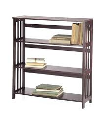 mission style wall shelf three bookcase with walnut plow