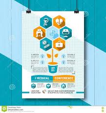 Medical Conference Poster Design Vector Medical Conference Poster Flat Infographics Icons