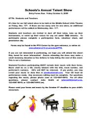 Talent Show Flyer Forms Pto Today