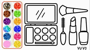 Glitter Makeup Tool Drawing And Coloring Pages For Kids 3 Alat