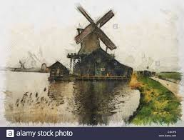 holland dutch windmill painting can be canvas or paper printed