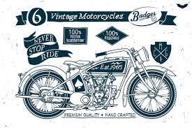 6 vintage motorcycles badges logo templates creative market