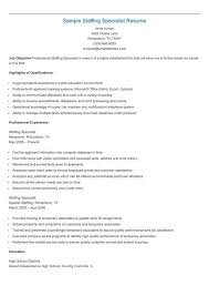 Staffing Specialist Resumes Sample Staffing Specialist Resume Resume Sample Resume