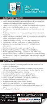 Chief Accountant Job Vacancy At Career Builders Pvt Ltd