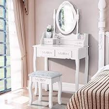 amazon mecor dressing table with oval mirror vanity table set cushoined stool bedroom wood makeup table with 4 drawers white kitchen dining