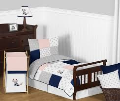 navy blue pink and grey patchwork woodland fox and arrow girl toddler kid childrens bedding set by sweet jojo designs 5 pieces comforter