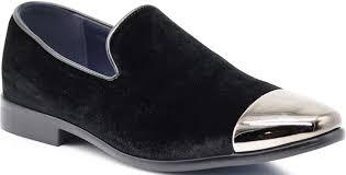 Mens Designer Dress Shoes Spk17 Mens Vintage Fashion Velvet Chrome Toe Designer Dress Loafers Slip On Shoes Classic Tuxedo Dress Shoes