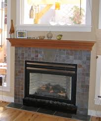 shelf over fireplace limestone glass mosaic tile surround