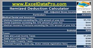 tax preparation checklist excel download itemized deductions calculator excel template exceldatapro