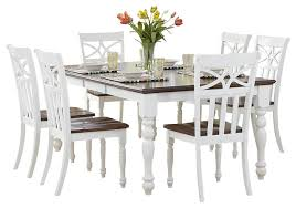 piece dining set white rectangular table homelegance sanibel  piece dining room set in white and warm cherry tr