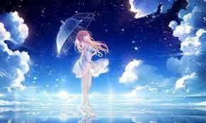female anime character in white dress ...
