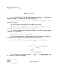 Affidavit Of Loss Sample