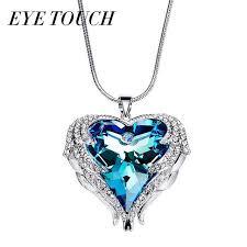 whole whole eye touch crystals from swarovski necklace women pendant heart shaped blue purple ab luxury fashion jewelry austrian rhinestone rose