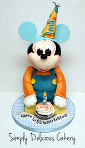 3d Baby Mickey Mouse 1st Birthday Fondant With Fondant Accents