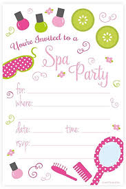 Birthday Party Invitation Amazon Com Spa Birthday Party Invitations Fill In Style 20 Count