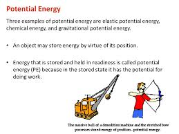 potential energy three examples of potential energy are elastic potential energy chemical energy and