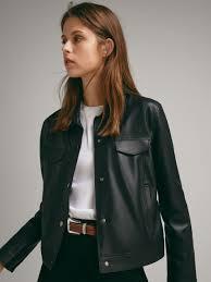 massimo dutti nappa leather denim style jacket 1