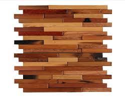 irregular size long strip uneven surface mosaic wooden wall tile