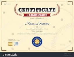 Certificate Participation Template Baseball Sport Theme Stock Photo