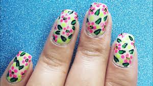 Floral Nail art with Permanent Marker and Dotting Tool/ Easy ...
