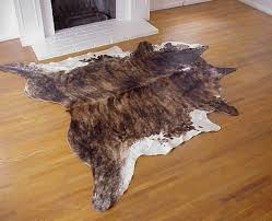 dark brindle white cowhide rug