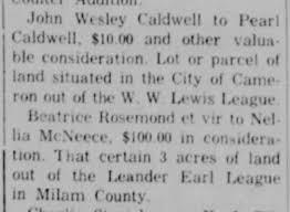 John Wesley Caldwell land transfer - Newspapers.com