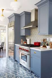 Black Granite Kitchen Countertops Benjamin Moore Wolf Gray Bluegrey Painted  Cabinets With Grey Tiles Floors Dark Counter Light White Walls Wood  Patterned ...
