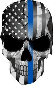 thin blue line decal punisher skull