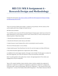 Res 531 Week 8 Assignment 6 Research Design And Methodology Strayer