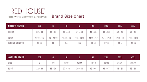 House Size Chart Red House Sizing Chart