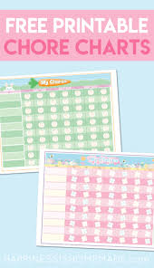 Free Printable Chore Chart For Kids Happiness Homemade