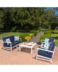 samana outdoor 4 piece aluminum chat set with cushions by christopher knight home white and navy blue size 4 piece sets patio furniture
