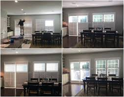 bypass shutters for sliding glass doors white plantation shutters on a bypass track system for easy