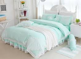 green bedding sets princess style lace edging mint green cotton 4 piece bedding sets