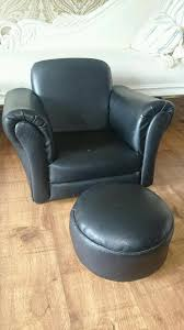 black faux leather children s tub chair with footstool