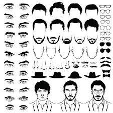 Konstruktor S Muži Hipster účesů Brýle Vousy Kníry Premium